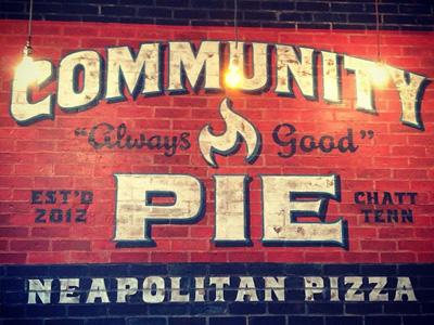 Community Pie Ad pizza brick flame pie restaurant logo ad food