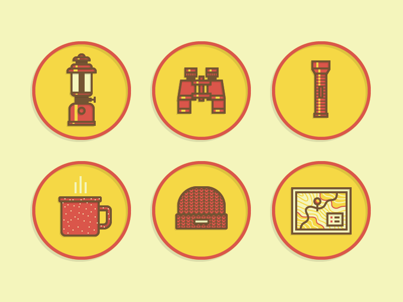 Vector Scouts Merit Badge Icons illustration icons lamp binoculars flashlight coffee mug camp scout hat beenie ui map location