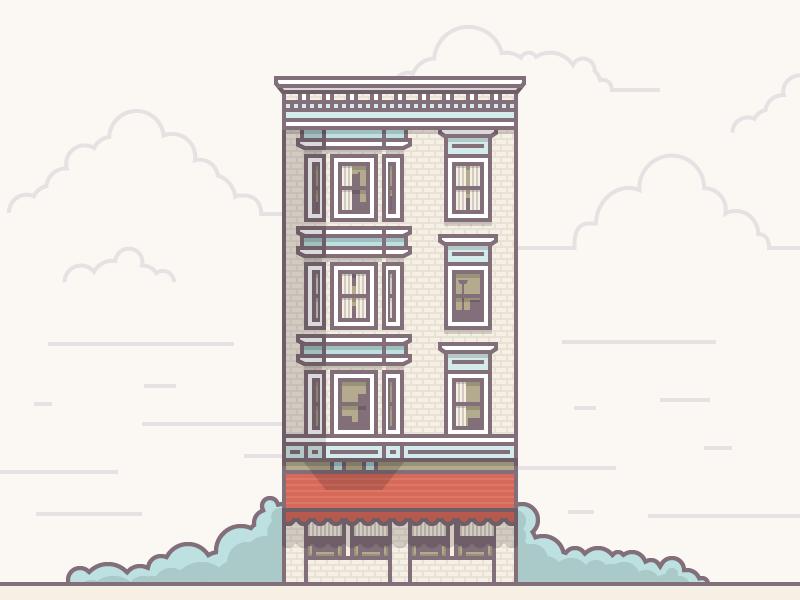 Building Study illustration icon building flat simple line windows door vector