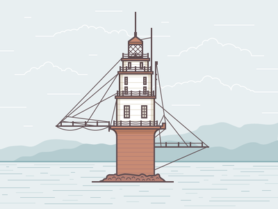 Mile Rocks Lighthouse illustration vector lighthouse nature sea ocean structure building water light sky clouds mountains vintage