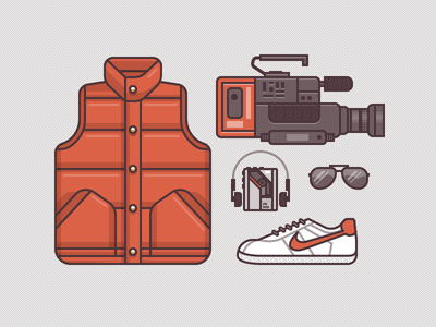 McFly Gear 1985 illustration icons vector back to the future marty mcfly jacket vest video video camera walkman music tape cassette glasses sunglasses shoes nike texture pattern seamless