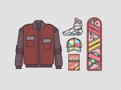 McFly Gear 2015 illustration vector gear icons back to the future marty mcfly shoes nike jacket future hat almanac sports hover board skateboard retro vintage