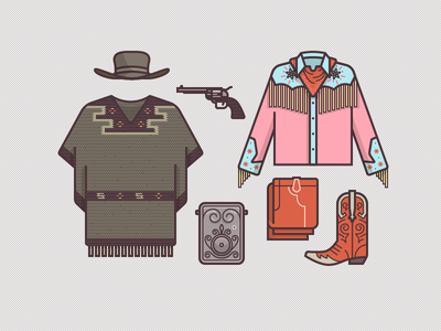 McFly Gear 1885 illustration icons vector western vintage cowboy poncho tassels boots gun hat bandana rug pants