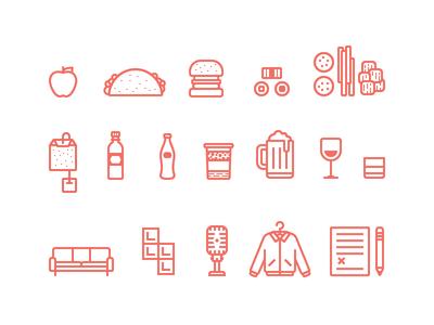 DBX Icons Illustrations icons illustrations vector simple flat food drinks games beer wine whiskey tea