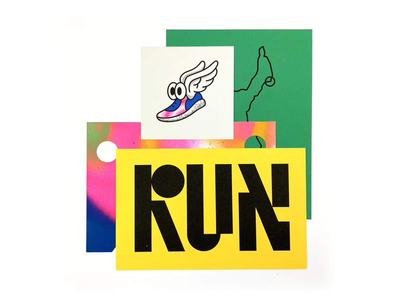 Run 01 typography spray paint risograph run running illustration