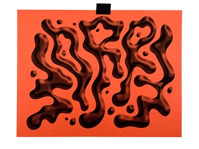 Worry art print illustraion risograph typogaphy