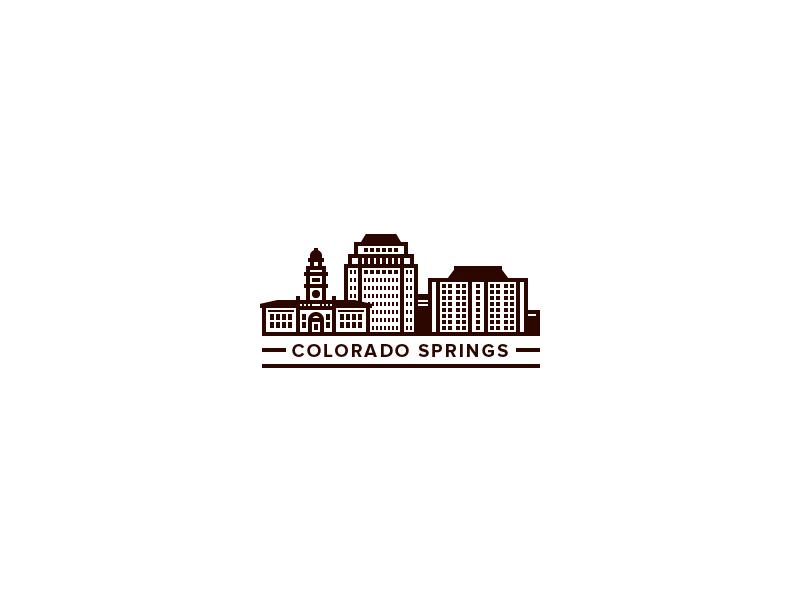 Colorado Springs Illy illustration icons city colorado logo typography flat simple