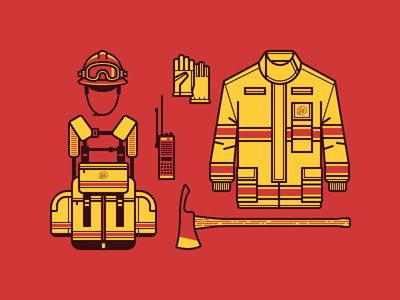 Wildland Firefighter Gear vector illustration fire t-shirt icons axe backpack coat gloves radio helmet flat