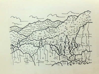Foothills Doodle illustration landscape texture earth mountain cosmos