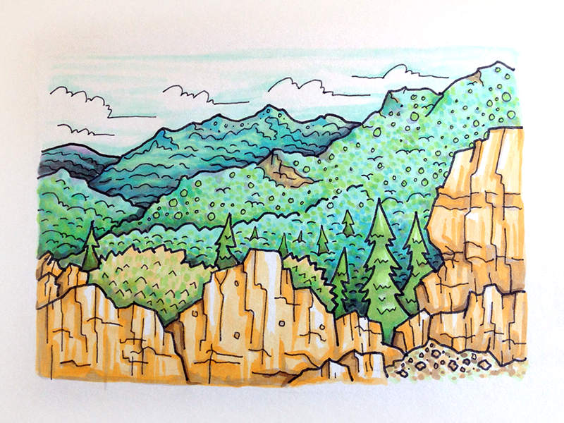 Foothills Color illustration landscape texture earth mountain cosmos