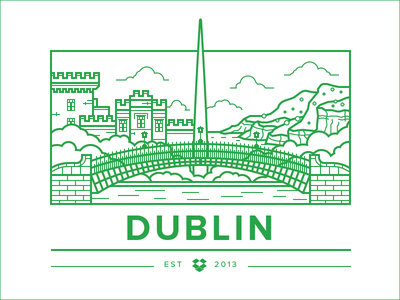 Dublin Office Illy illustration vector city bridge flat simple landscape landmark