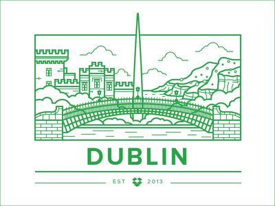 Dublin Office Illy illustration vector city bridge flat simple landscape landmark