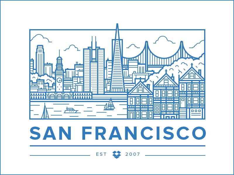 San Francisco Office illustration vector city san francisco building bay bridge flat simple landscape landmark