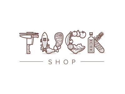 Tuck Shop illustration vector icons food logo eat meat bread knife veggies fruit typography