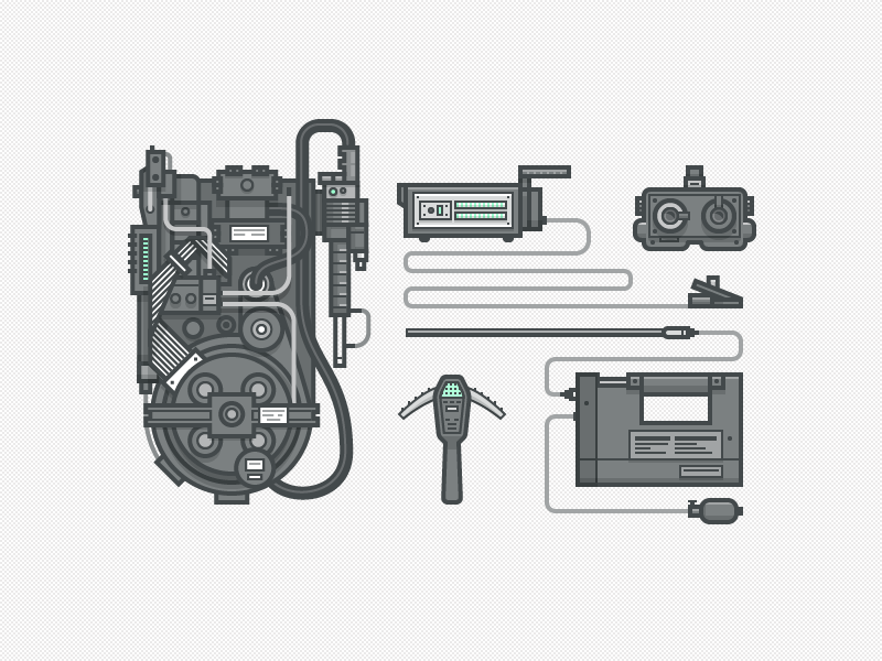 Ghostbusters Gear illustration icons vector ghost tools geek trap gun weapon
