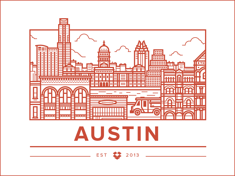 Austin Office illustration icon city austin food buildings truck music