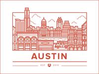 Austin Office illustration icon city austin food buildings truck music