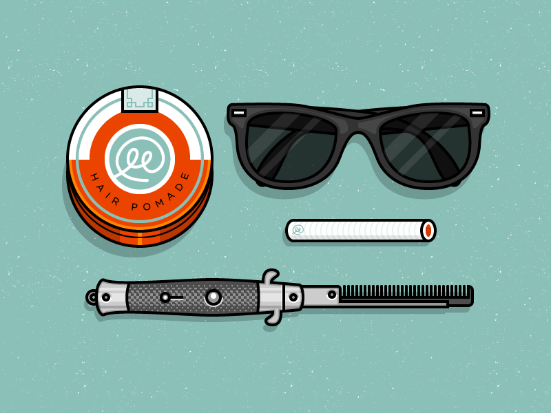 Cool Guy Stuff illustration icons vector typography comb glasses cool hipster knife