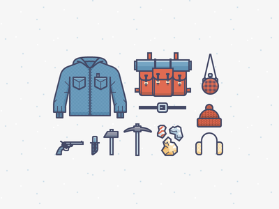 Yukon Cornelius Gear illustration icons vector backpack jacket hat flannel gold gun tools
