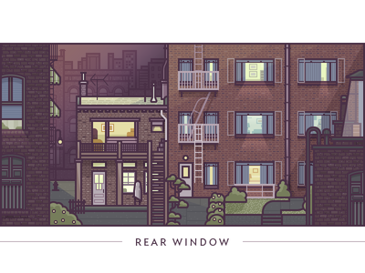 Rear Window illustration vector architecture movie buildings windows creepin