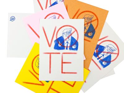 Vote Him Out usa vote postacrd illustration