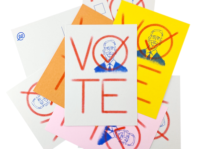 vote biden election usa vote risograph illustration