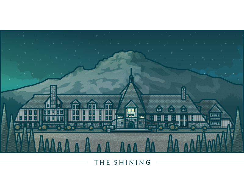 The Shining illustration vector architecture movie buildings windows creepin hotel horror