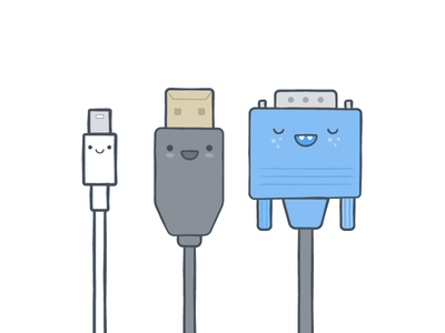 Cords illustration icons character cords hdmi thunderbolt happym