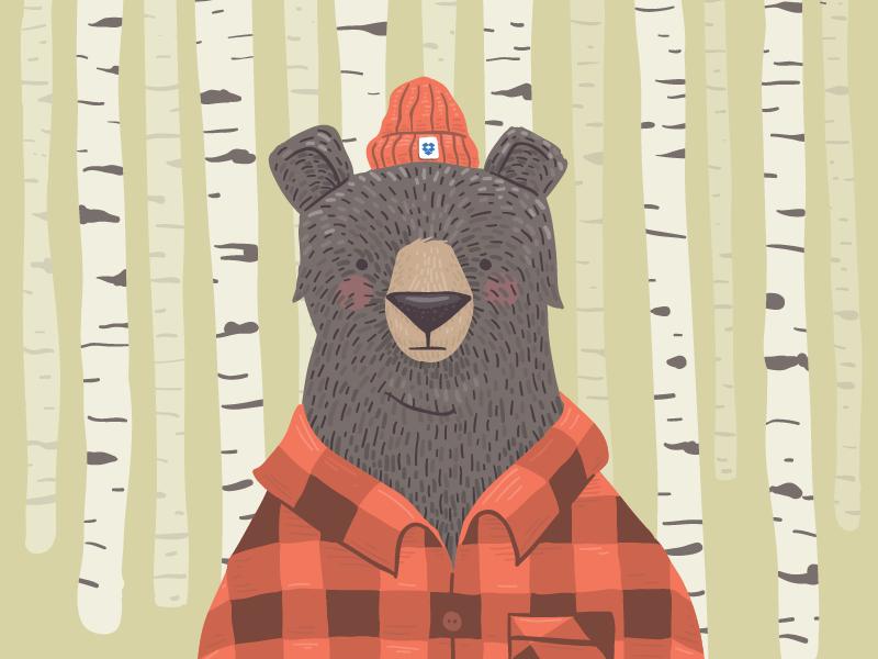 Dropbox Bear illustration vector bear texture fur trees flannel beanie