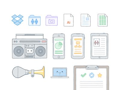 Illustration Updates illustration vector icon logo folder character music boombox iphone ipad computer