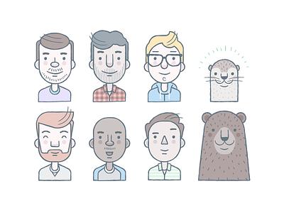 Avatars illustration vector avatars character people bear otter glasses hipsters