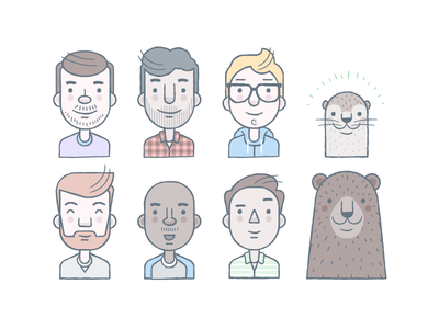 Avatars illustration vector avatars character people bear otter glasses hipsters