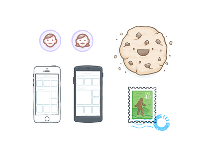 Carousel Randos illustration icons vector cookie avatar bigfoot photo ui stamp food