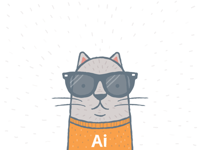AI Cat illustration icon vector cat glasses cool sweater whiskers