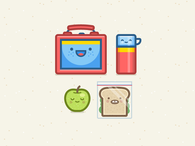 Lunchbox Crew illustration icon vector character lunchbox food sandwich apple thermos avatar