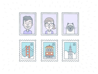 Stamps And Photos illustrations icons avatars cat san francisco trolley clock photo stamp