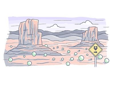404 Idea illustration vector desert sign rocks bushes 404 empty alone
