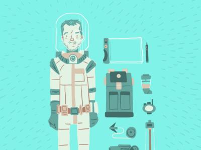 Interstellar Freelance Landscape Illustrator illustration vector character hand-drawn comic avatar backpack gun pad