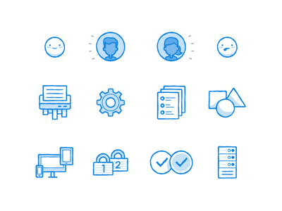Sketchy Icons illustration icons han-drawn sketch dropboxy document avatar people sync settings