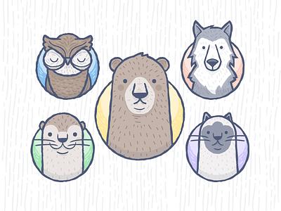 Animal Stickers illustration vector animals owl dog bear otter cat wolf hand-drawn fun cute.