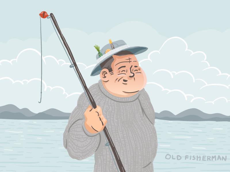 Fisherman vector illustration avatar art character fisherman fish hat pole mountain ocean water