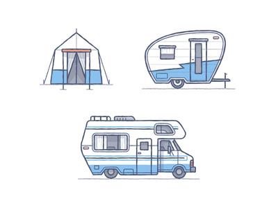 Cutting Room Floor vector illustration camp tent rv fun