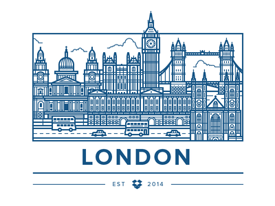 London Office illustration vector city london building cars bus bridge clouds water