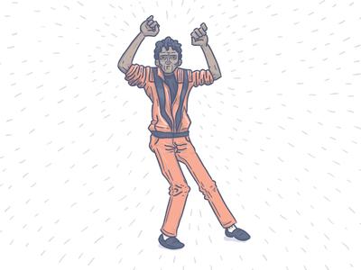 Thriller illustration vector character halloween dancing michael jackson
