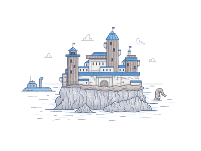 Sir Crags A Lot illustration island submarine tentacle castle keep