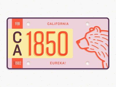 California State Plate illustration typography bear state license plate california vector