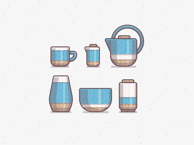Ceramics Icons illustration icons ceramics pottery mug cup teapot vase bowl texture pattern