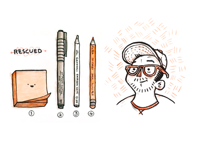Rescued Illos illustration sketch drawing avatar pencil pen post-it logo