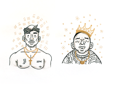 Rivalry illustration drawing sketch tupac biggie west east character avatar