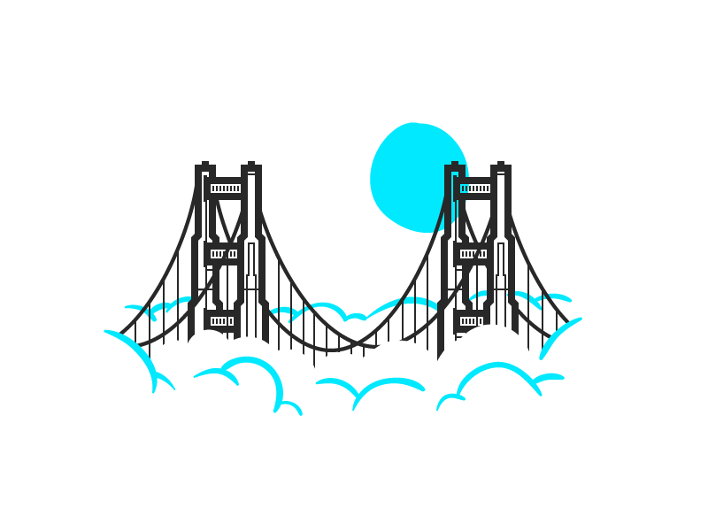 Golden Gate illustration icon vector brush bridge san francisco fog